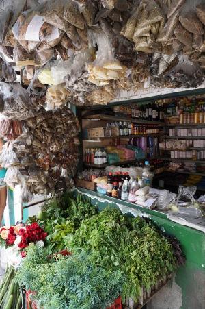 Obchod s korením na tržnici v São José