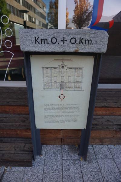 Kameň označujúci nultý kilometrovník vo Vaduze, od ktorého sú merané cesty v celom Lichtenštajnsku
