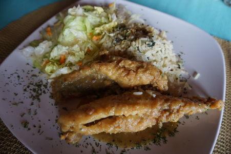 Smažená ryba s ryžou na Antigue