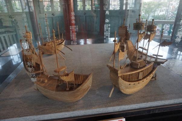 Model námornej bitky vo vnútri veže Chihkan v Tchaj-nane