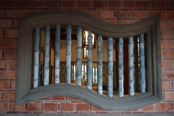 Typické bambusové okno veže Chihkan v Tchaj-nane, bývalej holandskej pevnosti Fort Provintia