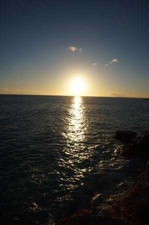 Západ Slnka v zálive Mullett Bay