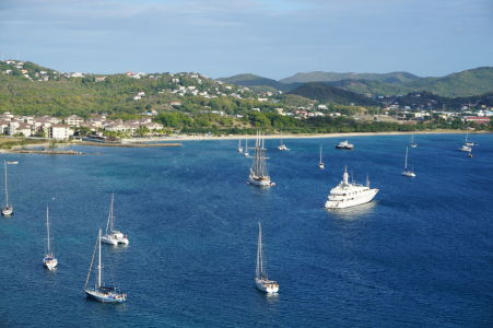 Loďky v zálive Rodney Bay