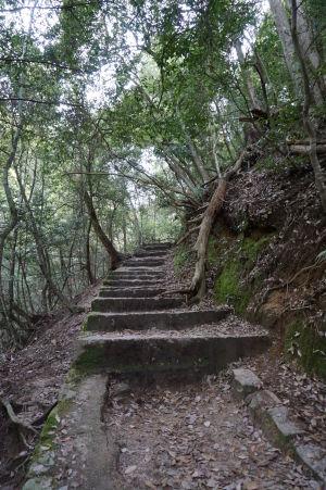 Väčšina cestičky na horu Misen vedie po schodoch alebo vybetónovanej ceste
