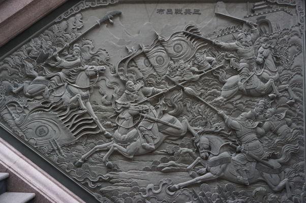 Reliéf bitky - Chrám Wenwu nad Jazerom Slnka a Mesiaca (Sun Moon Lake) na Taiwane