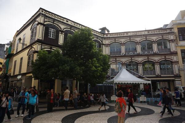Koloniálne budovy v historickom centre Macaa
