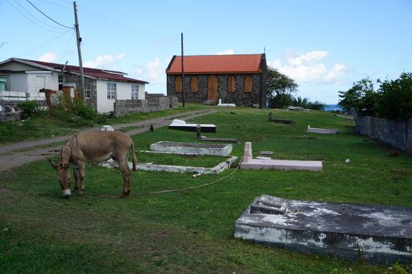 Cintorín na vidieku na ostrove Svätý Krištof