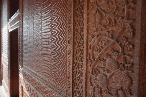 Detail reliéfu zdobiaceho stavby v bývalom kráľovskom meste Fatehpur Sikri