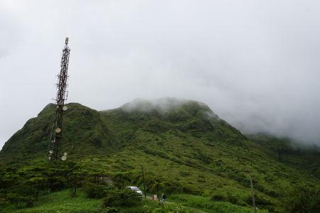 Sopka Pelée v oblakoch
