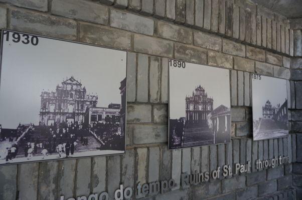 Fotografie ruín Chrámu sv. Pavla v Macau v rôznych obdobiach