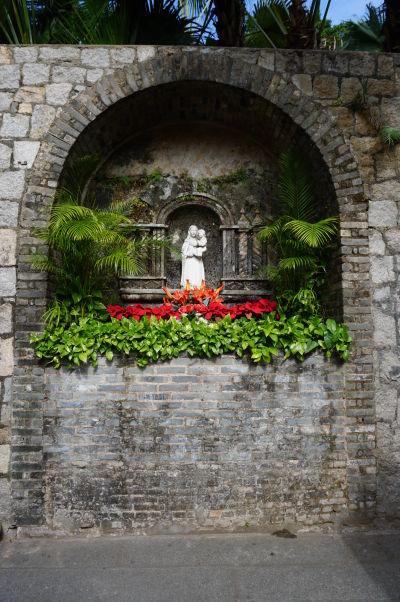 Fortaleza do Monte (doslova Pevnosť na kopci) v Macau - socha Panny Márie, ochrankyne pevnosti