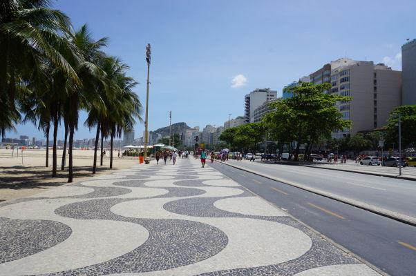 Promenáda popri pláži Copacabana v Riu de Janeiro