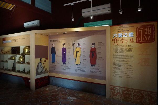 Interaktívne múzeum Konfuciovho chrámu v Tchaj-peji - exhibícia ukazuje život v období, keď žil Konfucius