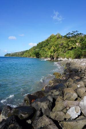 Kamenisté pobrežie pri prístave v Gouyave
