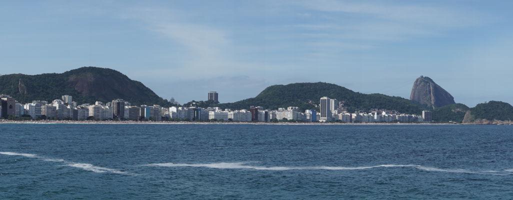 Pohľad na Copacabanu z pevnosti Copacabana v Riu de Janeiro