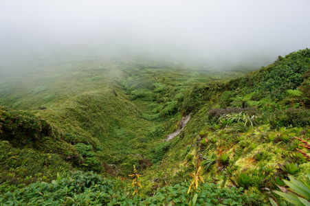 Vrchol La Grande Soufriére v oblakoch