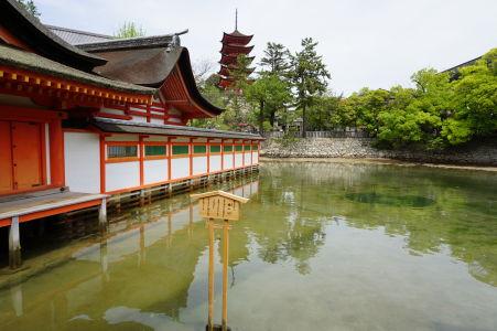 Zatopená svätyňa Icukušima a 5-poschodová pagoda