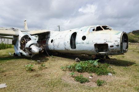 Krava študuje motor lietadla An-26 na grenadskom letisku Pearl Airport