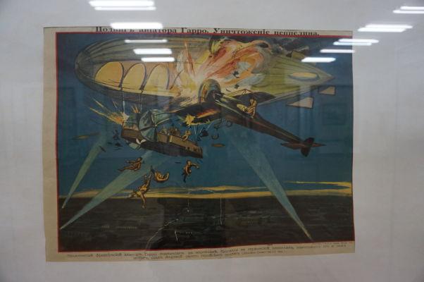 Národné múzeum histórie Moldavska - historický plagát vyobrazujúci čin Rolanda Garrosa