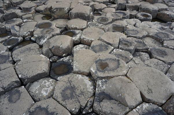 """Bazalt (stuhnutá láva) formujúci \""""včelie plasty\"""" na Obrovom chodníku (Giant\'s Causeway) v Severnom Írsku"""