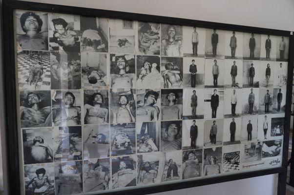 Fotografie niektorých z obetí väznených a zavraždených v Tuol Slengu (S-21) v Phnom Penhu