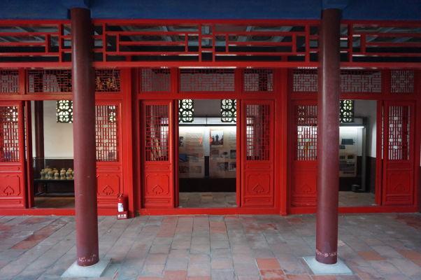 Miestnosti s informačnými panelmi v Koxingovej svätyni v Tchaj-nane