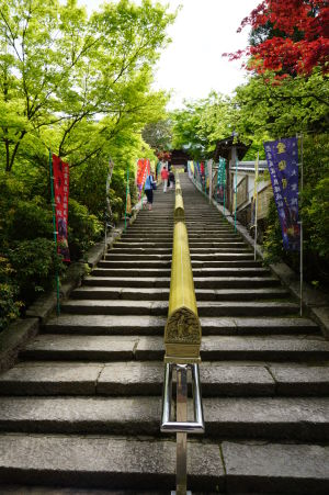 Vstup k svätyni Daišó-in, ktorá sa rozprestiera na úpätí kopca, takže vyžaduje výstup po schodoch