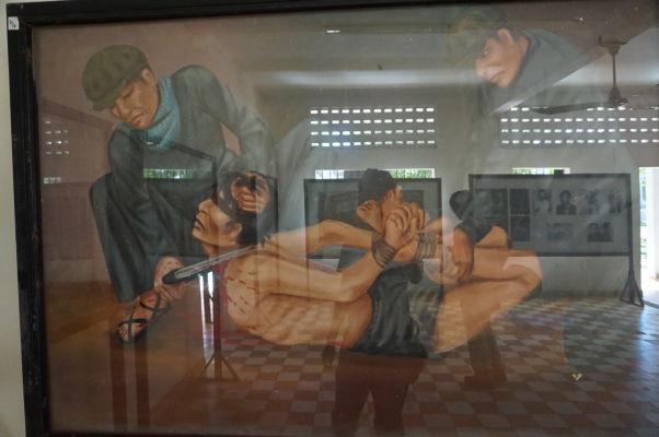 Poprava väzňov - Obraz vo väzení Tuol Sleng (S-21) v Phnom Penhu