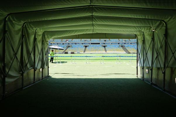Štadión Maracanã v Riu de Janeiro - pohľad, príchod hráčskym tunelom