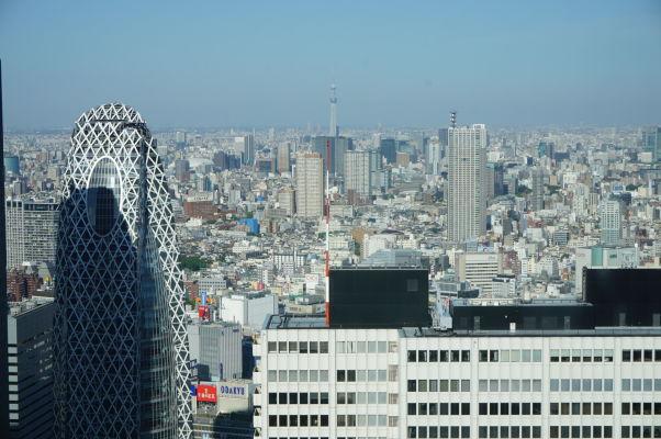 Budova metropolitnej vlády (Točó) v Tokiu - vyhliadka na mesto je k dispozícii zadarmo - v pozadí Tokyo Skytree