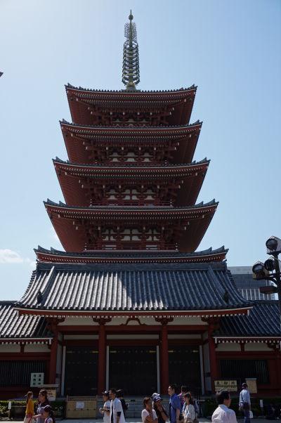 Päťposchodová pagoda v chráme Sensó-dži (Senso-ji) v Tokiu - ide o šintoistickú svätyňu