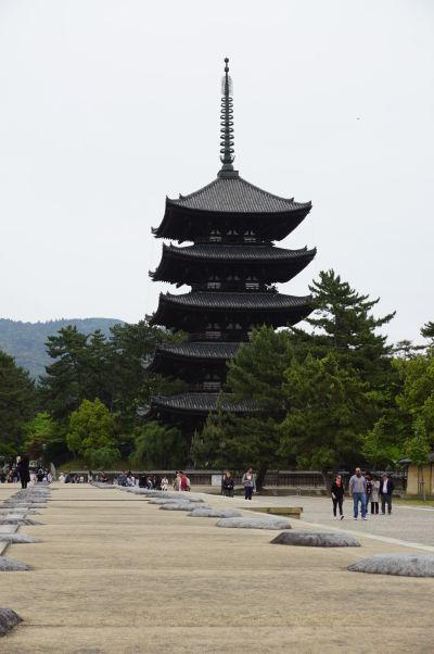 Päťstupňová pagoda (Gojū-no-tō) v chráme Kófuku-dži v Nare