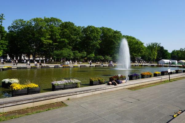 Fontána v parku Ueno v Tokiu