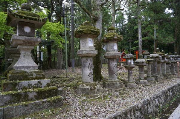 Kamenné lampáše popri ceste k svätyni Kasuga Taiša v Nare