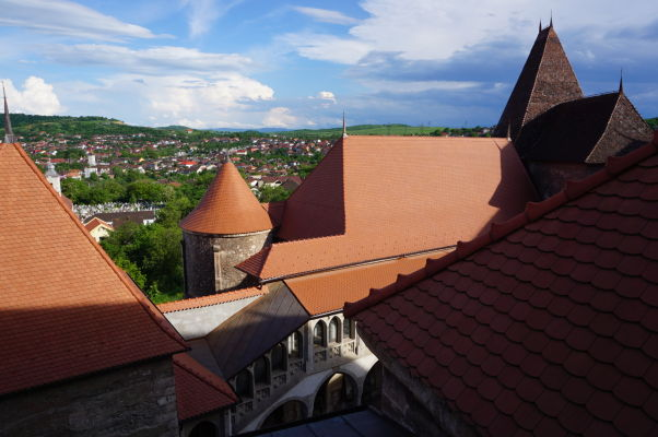 Strechy Korvínovho hradu v Hunedoare