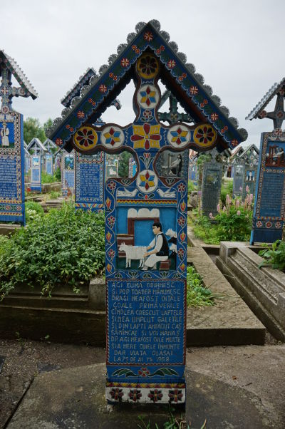 Veselý cintorín v Săpânțe - Trochu dvojzmyselný obrázok, pravdepodobne pastiera