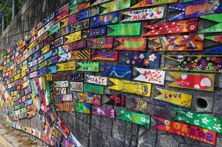 Jedna z umeleckých inštalácií v uličkách Gamcheonu