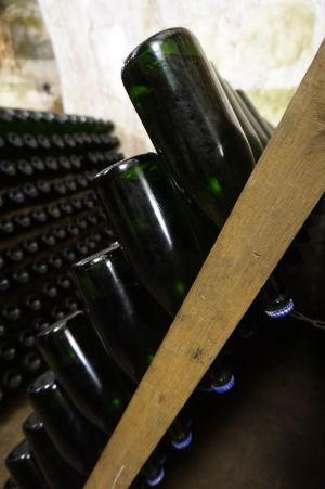 Vínna pivnica so šampanským v Reims - vo fľašiach dolu hrdlom prebieha kvasenie, ktoré dodáva šampanskému bublinky