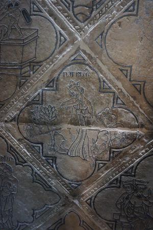 Bazilika sv. Remigia v Reims - časť pôvodného obkladu vyobrazujúca scény z Biblie