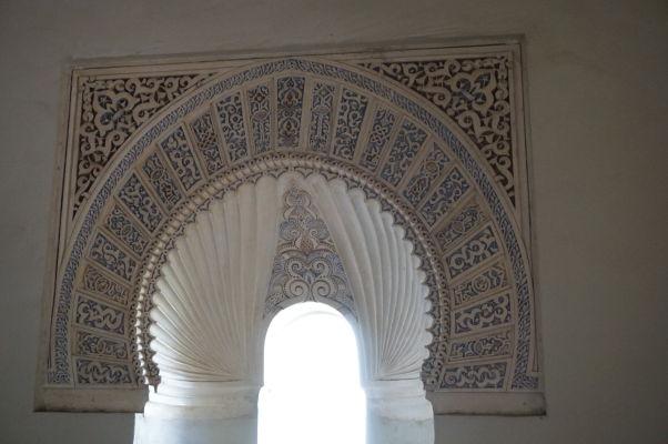 Maurský oblúk v paláci v pevnosti Alcazaba v Málage