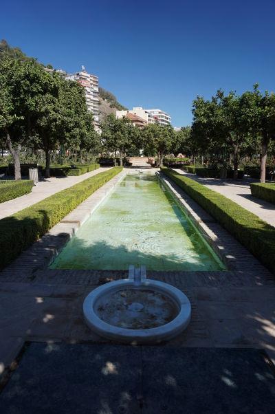 Záhrady Jardines de Pedro Luis Alonso pri mestskej radnici v Málage