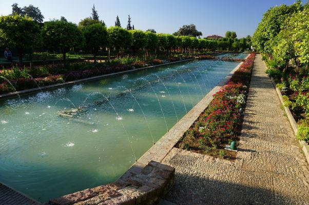 Záhrady a fontány v kráľovskom paláci Alcázar v Córdobe