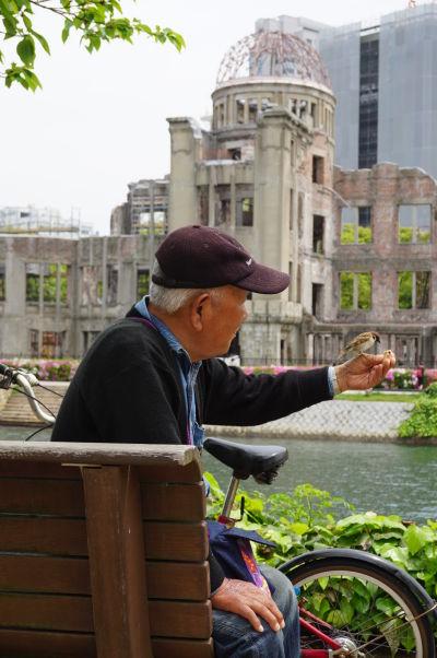Dôchodca kŕmi vrabce pred Atómovým dómom v Hirošime