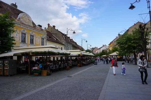 Pešie korzo Strada Nicolae Balcescu v Sibiu