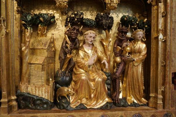 Detail reliéfu v Múzeu výtvarných umení v Dijone - diabli pokúšajúci svätca