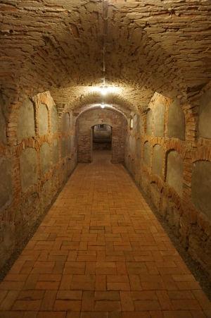 Krypta pod Kostolom na kopci - výklenky v stenách obsahujú rakvy