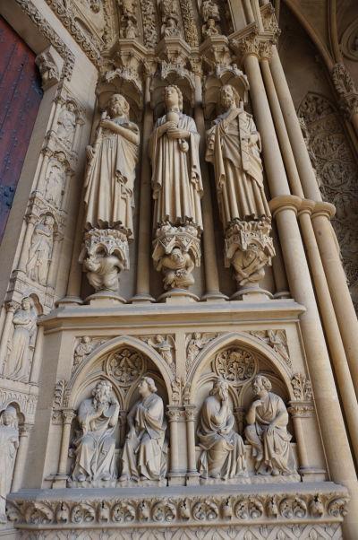 Bohatá vonkajšia výzdoba hlavného portálu Katedrály sv. Štefana v Metz (Cathédrale Saint Étienne de Metz)