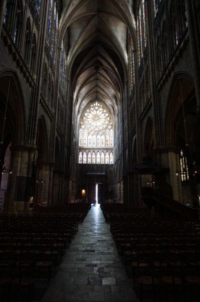 Hlavná loď a rozeta Katedrály sv. Štefana v Metz (Cathédrale Saint Étienne de Metz)