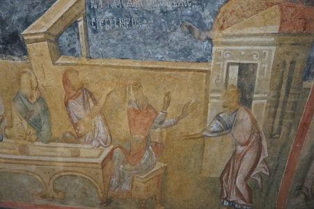 Freska v Chráme sv. Bohorodičky v Ivanove - Tváre postáv su zamazané
