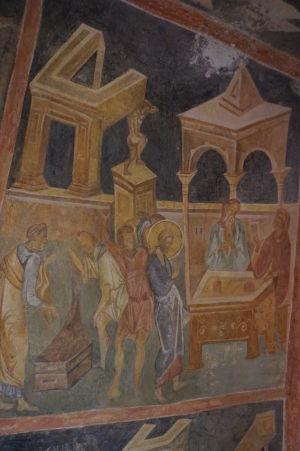 Freska v Chráme sv. Bohorodičky v Ivanove - Bičovanie Krista